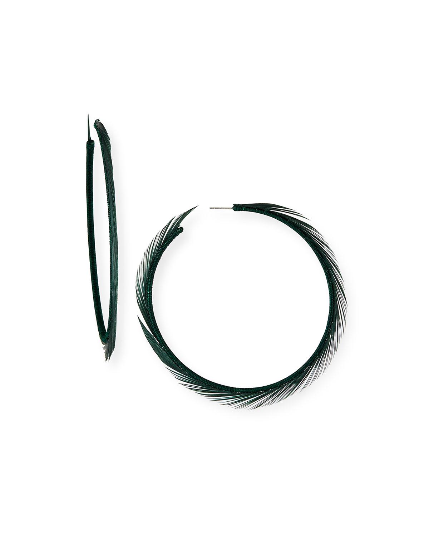 Oscar De La Renta Accessories FEATHER HOOP EARRINGS
