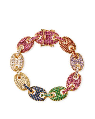 Toscano Pave-Link Bracelet, Multicolor