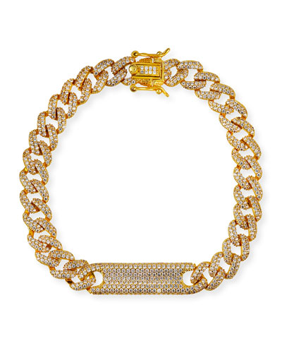 Chain-Link Pave Plate Bracelet