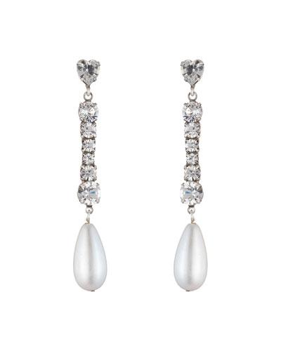 Rita Crystal & Pearly Drop Earrings