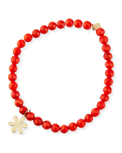 14k Diamond Daisy & Red Coral Bracelet