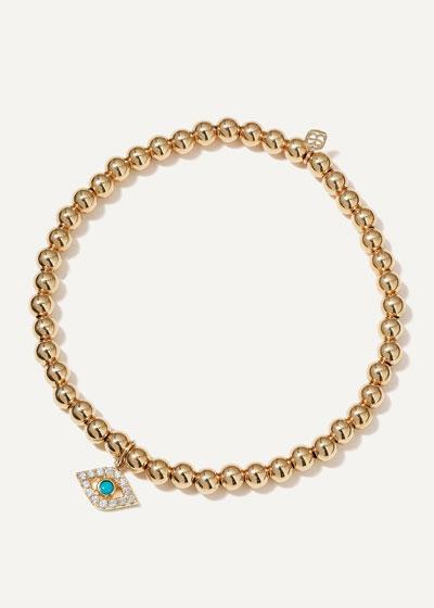 14k Large Diamond & Turquoise Evil Eye Bracelet
