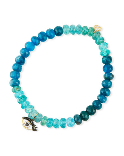 14k Diamond Evil Eye & Multi-Apatite Bracelet
