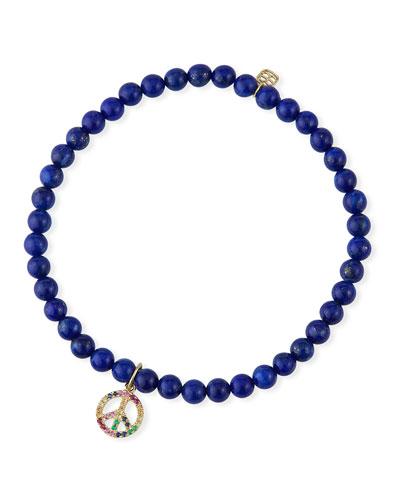 14k Sapphire Peace & Lapis Bracelet