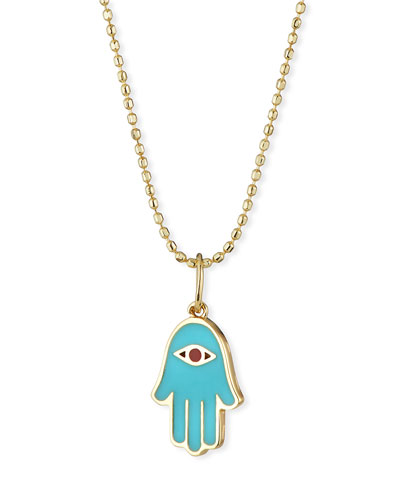 14k Enamel Hamsa Charm Necklace