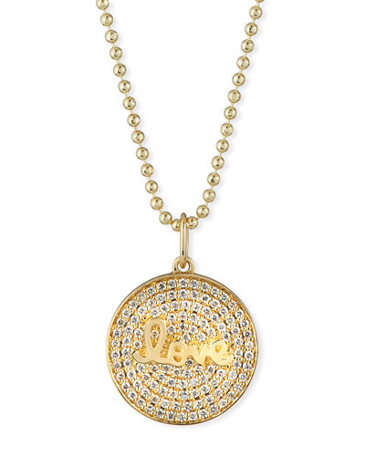 14k Love Script Diamond Pave Medallion Necklace