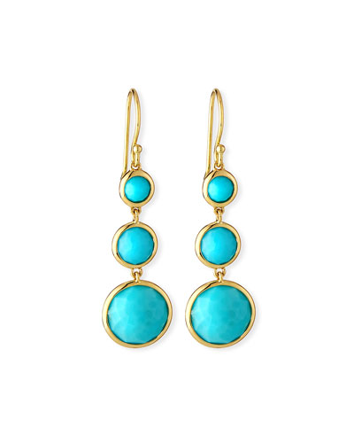 18k Lollipop® Three-Stone Drop Earrings in Turquoise