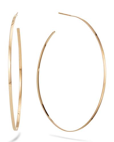 14k Gold Flat Mega Oval Hoop Earrings
