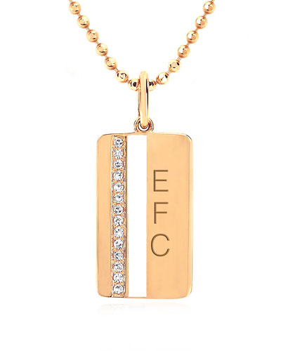 14k Diamond & Enamel Stripe Pendant Necklace, White