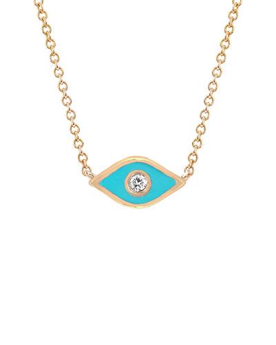 14k Rose Gold Diamond & Enamel Evil Eye Necklace, Turquoise