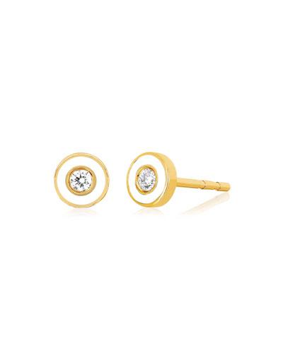 14k Diamond Bezel & Enamel Stud Earring, Single, White