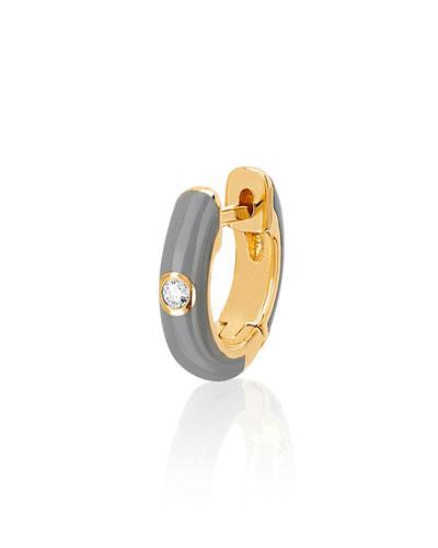 14k Diamond & Enamel Huggie Earring, Single, Gray