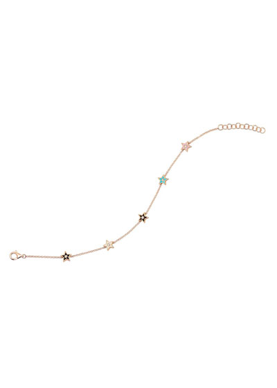 14k Rose Gold 5-Diamond & Enamel Star Bracelet