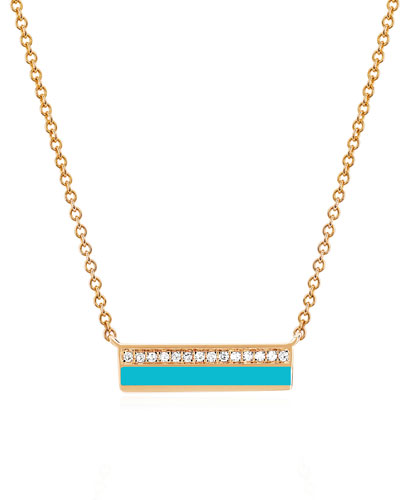 14k Rose Gold Diamond & Enamel Bar Necklace, Turquoise