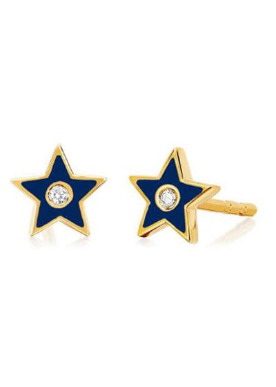 14k Diamond & Enamel Star Stud Earring, Single, Navy