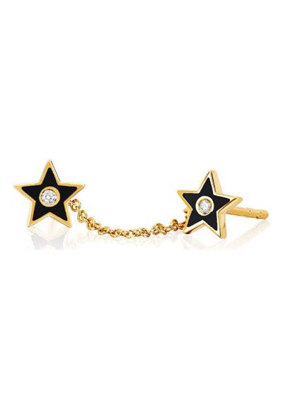 14k Diamond & Enamel Double-Star Chain Earring, Single, Black