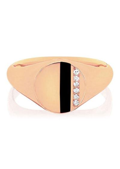 14k Rose Gold Diamond & Enamel Stripe Ring, Black