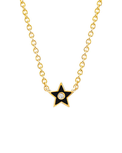 14k Diamond & Enamel Star Necklace, Black