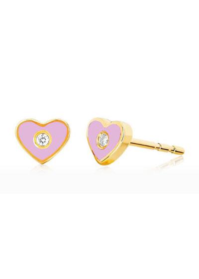 14k Diamond & Enamel Heart Stud Earring, Single, Pink