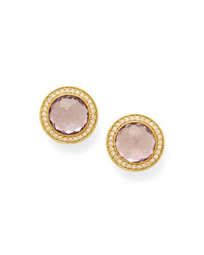Lollipop Round Stud & Diamond Pave Earrings in Amethyst