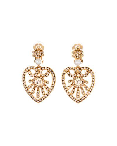 Pearly Crystal Heart-Drop Earrings