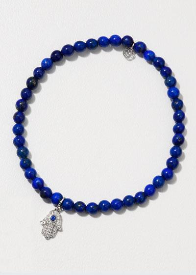 14k White Gold Sapphire/Diamond Hamsa & Lapis Bracelet