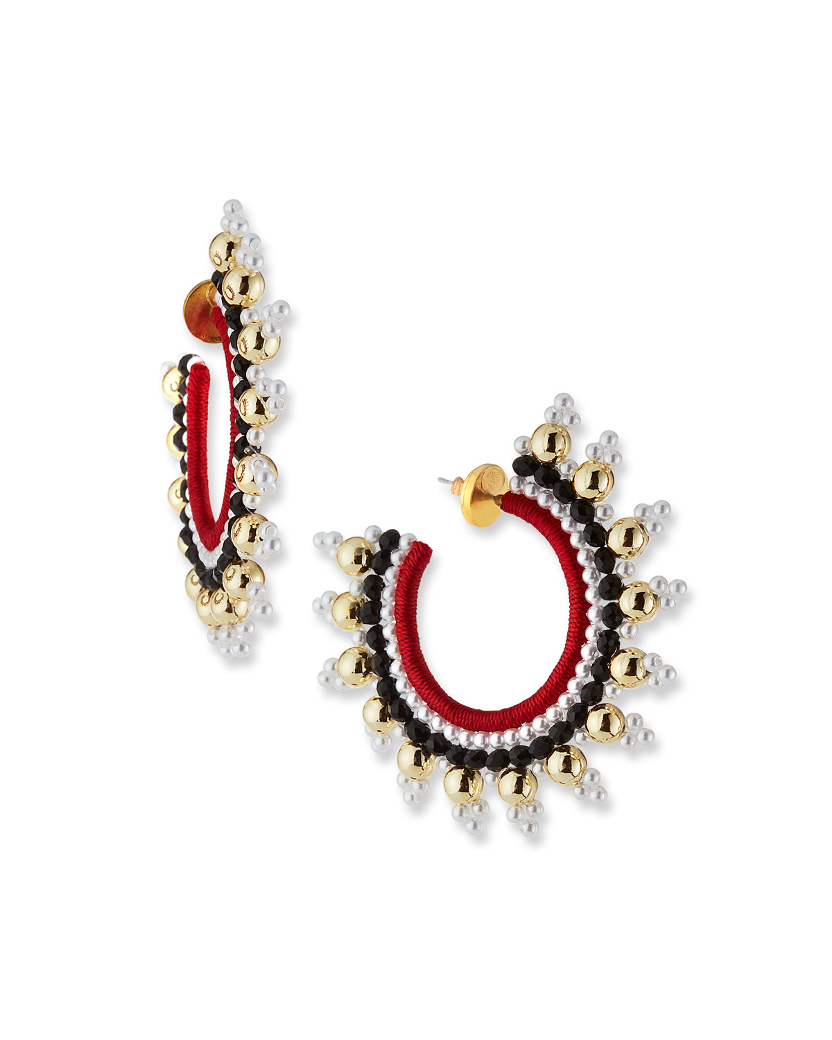 Oscar De La Renta Accessories SMALL EMBELLISHED HOOP EARRINGS