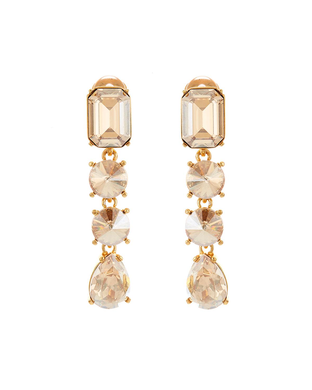 Oscar De La Renta Jewelry CLASSIC LARGE CRYSTAL CLIP EARRINGS
