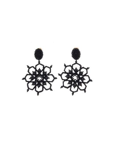 Crystal Flower-Outline Clip Earrings