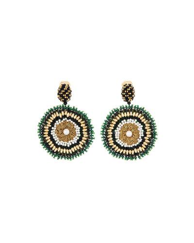 Mixed-Bead Circular Clip Earrings