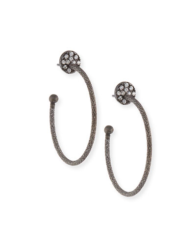 18k Black Gold Small Diamond Coin & Hoop Earrings