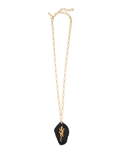 Lizard-Stone Long Pendant Necklace