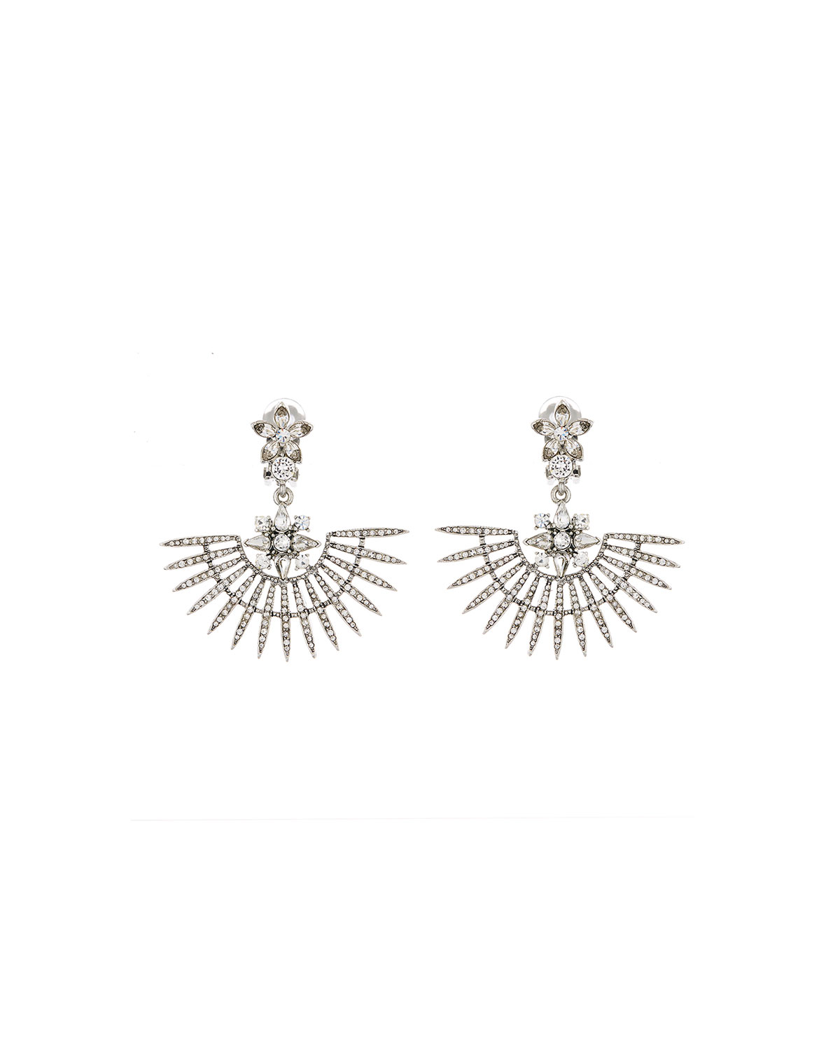 Oscar De La Renta Accessories PAVE POINT FAN EARRINGS
