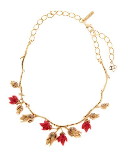 Crystal & Resin Flower Bud Necklace