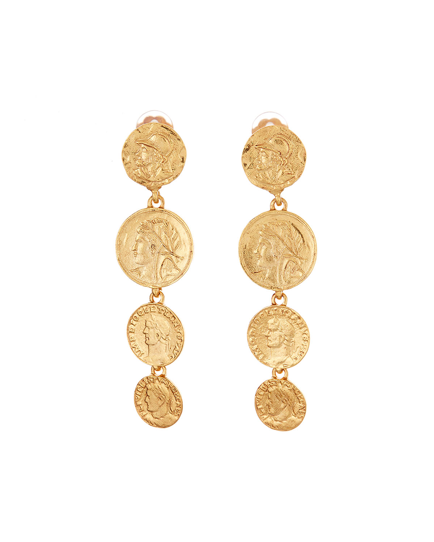 Oscar De La Renta Accessories LINKED COIN-CLIP EARRINGS