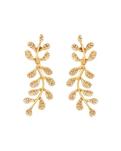 Crystal Pave Leaf Earrings