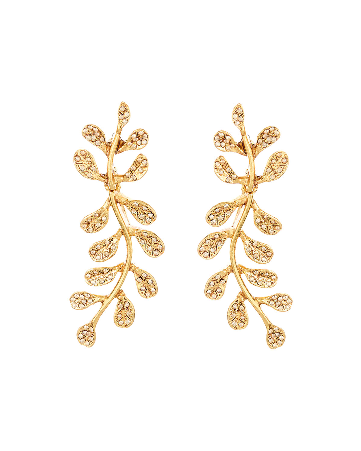 Oscar De La Renta Jewelry CRYSTAL PAVE LEAF EARRINGS