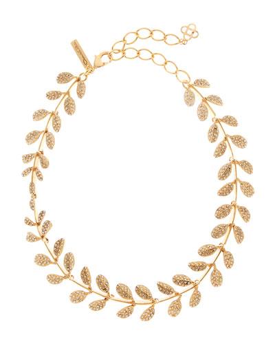 Crystal Pave Leaf Necklace