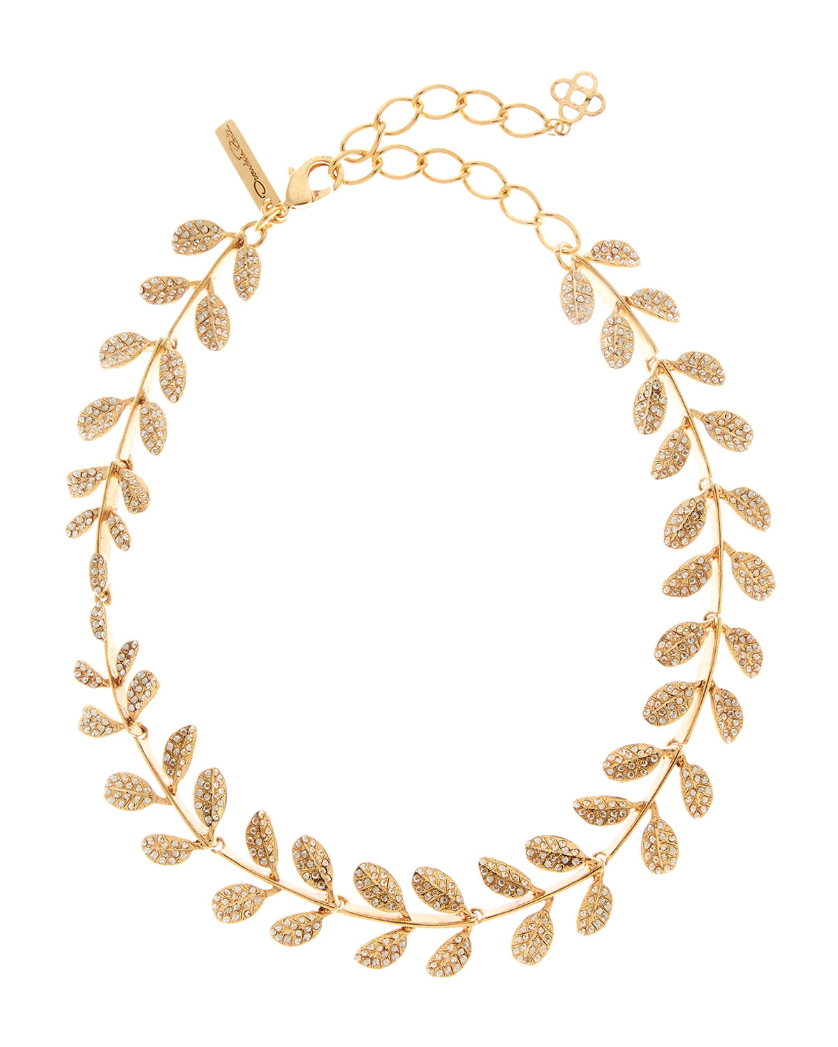 Oscar De La Renta Accessories CRYSTAL PAVE LEAF NECKLACE