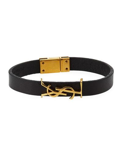 Leather YSL Monogram Bracelet, Black/Gold
