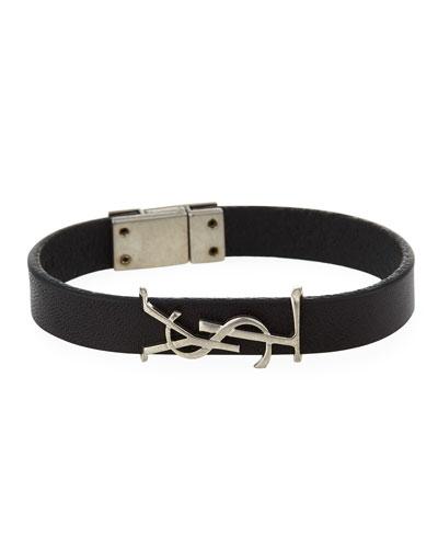 Leather YSL Monogram Bracelet, Black/Silver