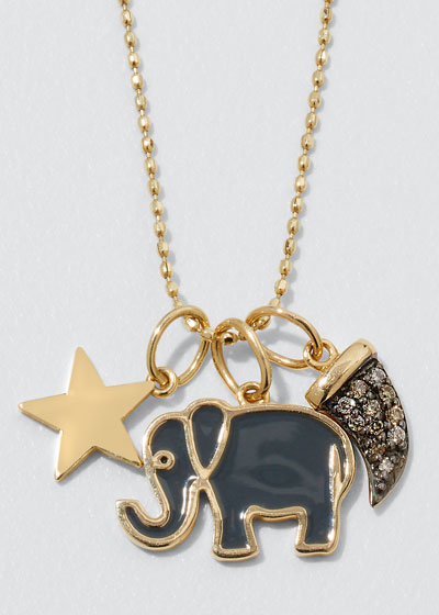 14k Enamel & Diamond Elephant Charm Necklace