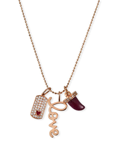 14k Rose Gold Diamond & Ruby Love Charm Necklace