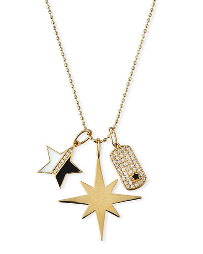 14k Enamel & Diamond Star Charm Necklace