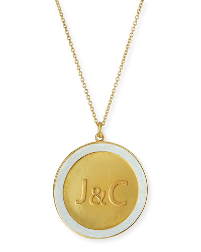 Engraved Enamel Disc Necklace
