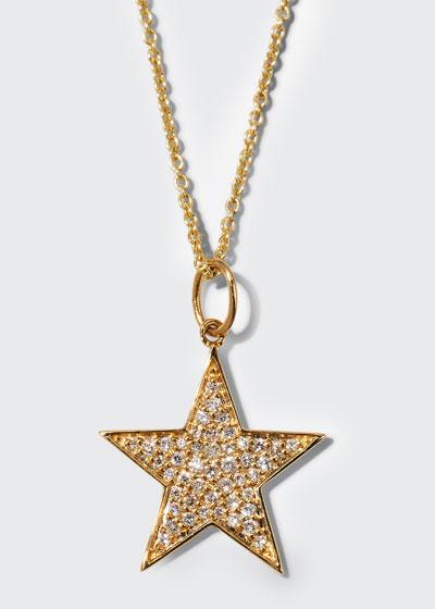 14k Medium Diamond Star Charm Necklace