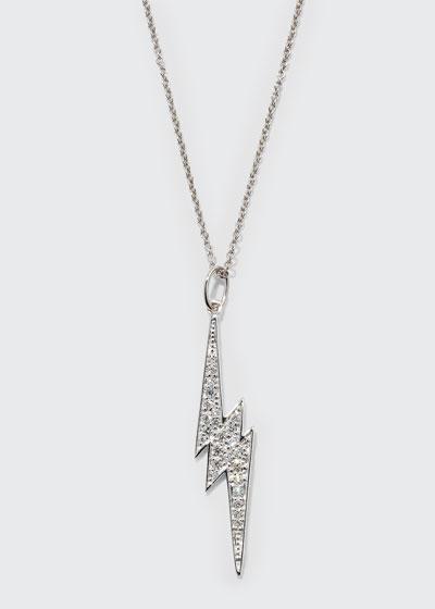 14k White Gold Diamond Lightning Bolt Necklace