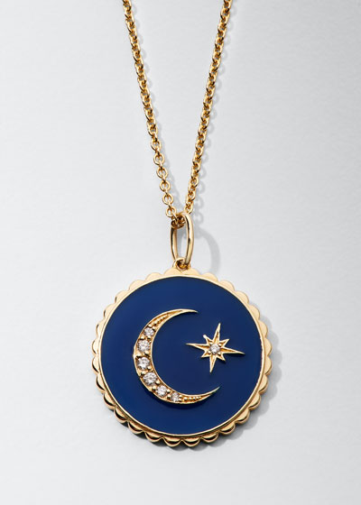 14k Diamond & Enamel Celestial Necklace