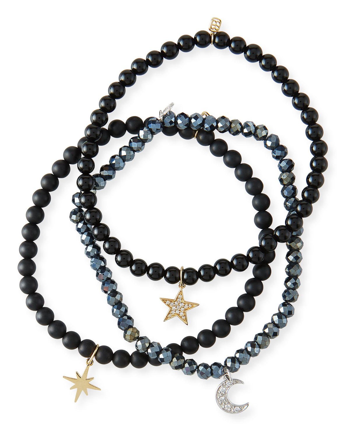 Sydney Evan Accessories DARK NIGHT CELESTIAL TRIO 14K DIAMOND BRACELETS, SET OF 3
