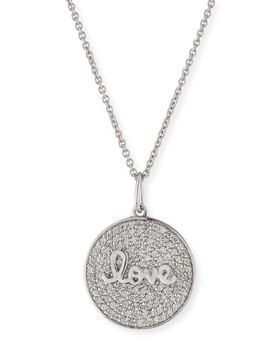 14k White Gold Love Script Diamond Pave Medallion Necklace